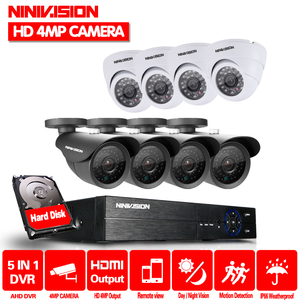 8CH DVR 4.0MP HDMI CCTV System Video Recorder 8PCS indoor outdoor Home Security Waterproof Night Vision Camera Surveillance Kits