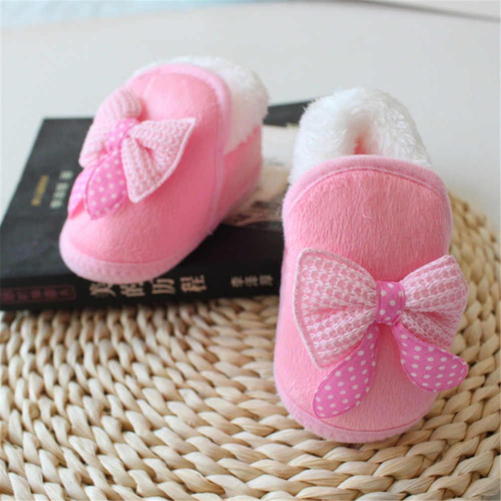 יוניסקס תינוק בנות ילד תינוק כותנה נעלי מעובה חם רך בלעדי פעוט קשת נעלי עריסה קשת נעליים ראשון הליכונים