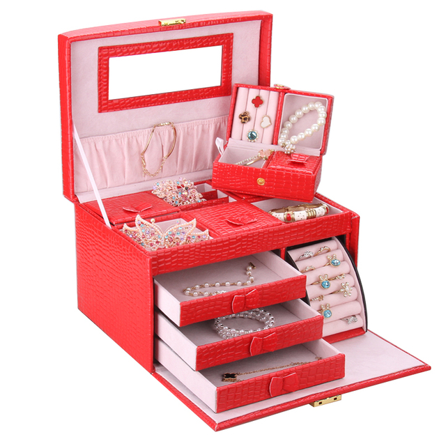 Large Red Jewellery Storage Boxes With Travel Case Wedding Gifts Earrings Necklaces Display Snake Organizer Velvet