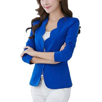 Spring OL Fashion Women Slim Blazer Coat Casual Jacket Long Sleeve One Button Suit Ladies Work Blazers