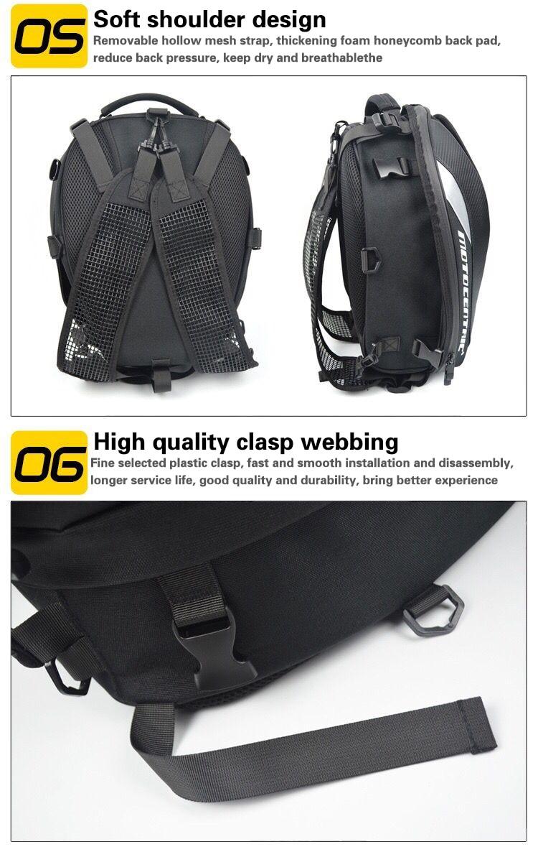Brand New Waterproof Motorcycle Tail Bag Multifunction Motorcycle Rear Back Seat Bag High Capacity Motorcycle Rider Backpack 9