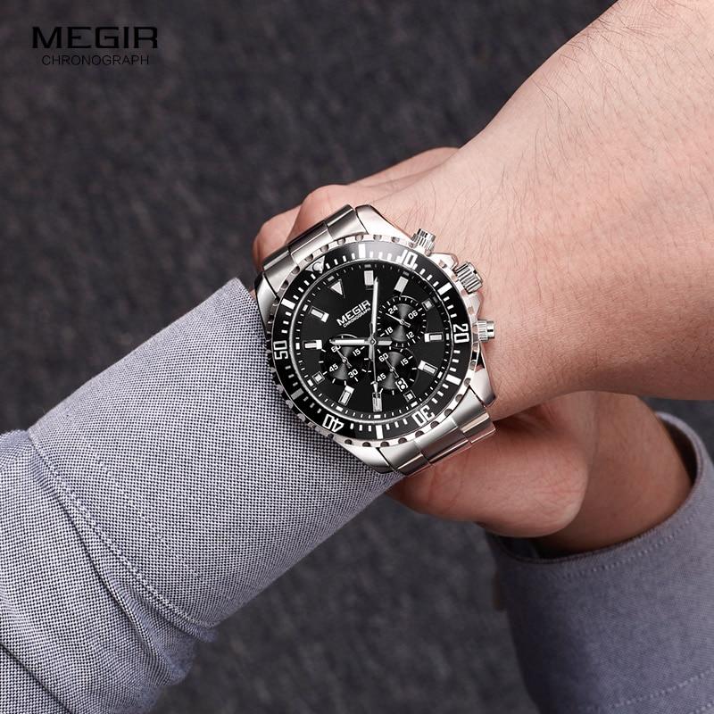 Image 4 - Megir Mans Analogue Chronograph Quartz Watch with Stainless Steel Bracelete Luminous Wristwatch for Boys Calendar 24 Hour 2064GQuartz Watches   -