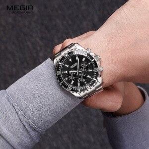 Image 4 - Megir erkek analog kronometreli kuvars saat paslanmaz çelik bilezik aydınlık saatler erkekler için takvimi 24 saat 2064G