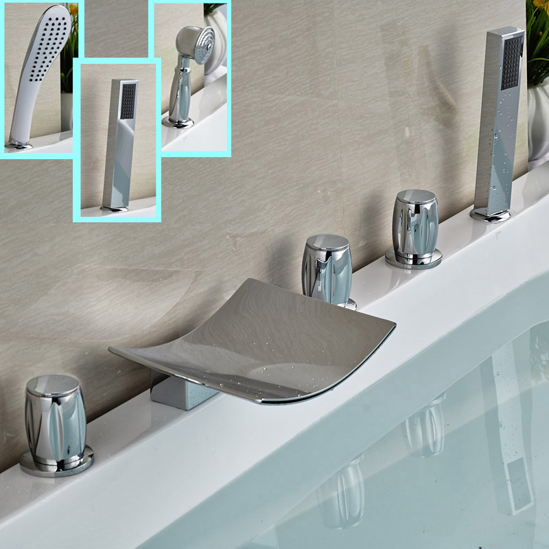 Deck Mount 5pcs Waterfall Tub Faucet Three Handles Bathroom Bath Tub Mixer Taps Tub Filler with Handshower
