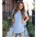 WomensDate 2016 Женщины Классический Синий White Stripes С Коротким Рукавом Сплит Свободные Длинные Майка Топы женские Рубашки