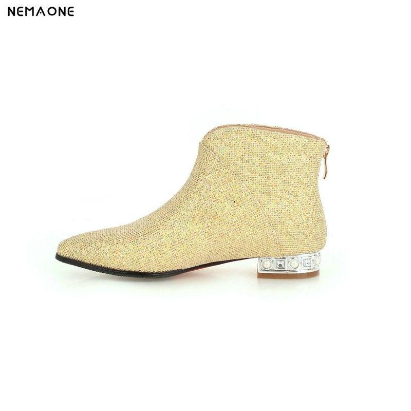 Knöchel-boots Praktisch Nemaone Neue Frauen Low Platz Heels Stiefeletten Poined Kappe Damen Party Kleid Schuhe Schwarz Gold Silber Casual Schuhe Frau Bequemes GefüHl