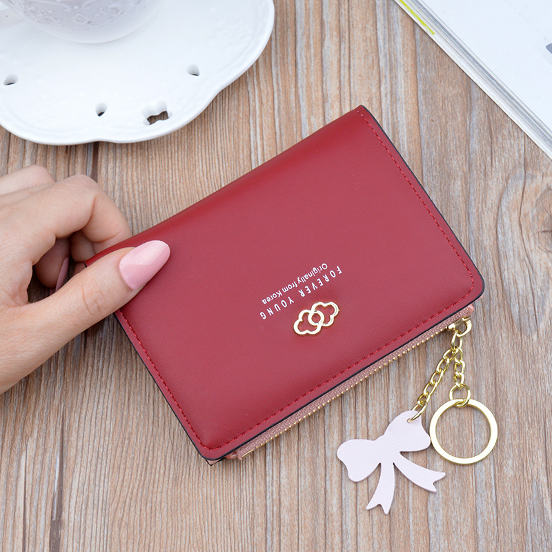 Women 39 s wallet Cute Fashion soft skin Purse Leather Short Zip Wallet Korean Coin Card Holder Leather Card Female Clutch 412 in Wallets from Luggage amp Bags