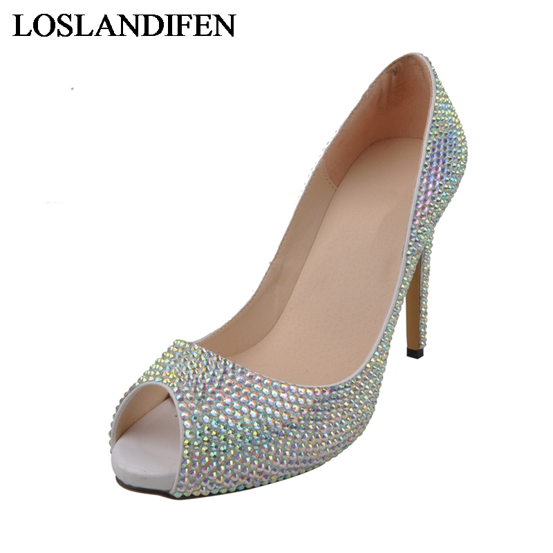 Wholesale Price Red Rhinestone Wedding Shoes Crystal Platforms High Heel Shoes Beautiful Bride Dress Shoes Big Size 42 NLK A0144