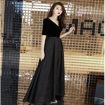 Doparty soiree v neck black plus size gown formal dress women elegant long party dresses evening 2018 kaftan dubai xs3 formal wear