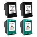 4 Packs, Printer Ink Cartridges for HP 93 92 hp93 hp92 Deskjet 5440 5442 5443 D4160 Photosmart C3140 C3150 C3180 C3190 PSC 1510