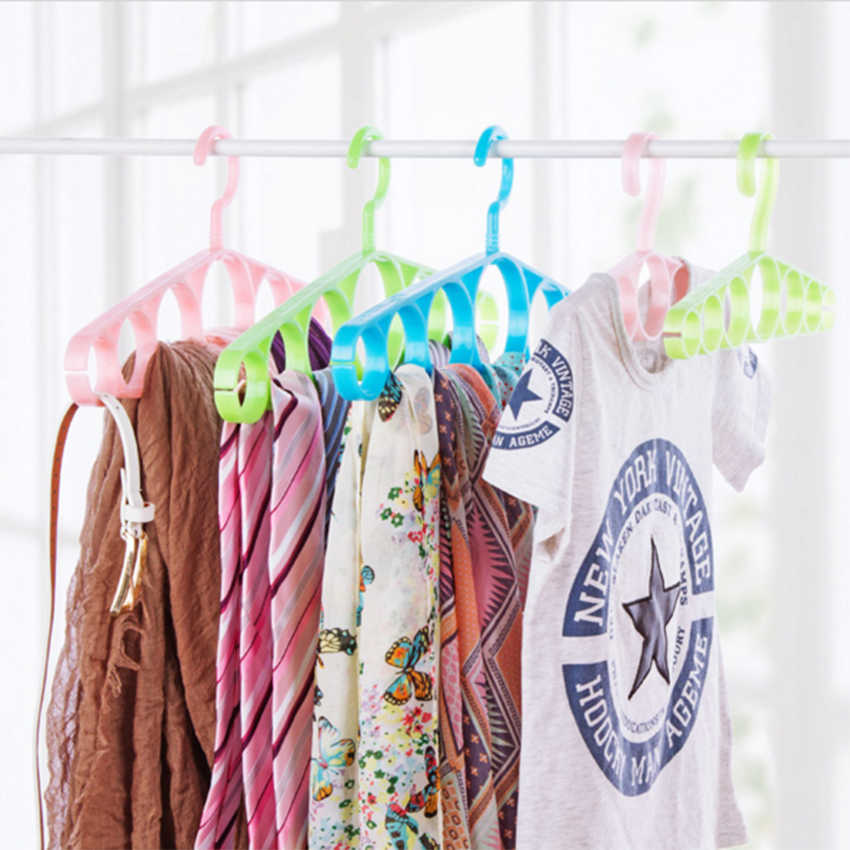 وشاح الشماعات دائرة علاّقات ملابس 7 حلقة حفرة جولة التعادل الملابس والأوشحة التخزين رف القماش تدوير حفظ الفضاء خزانة المنظم