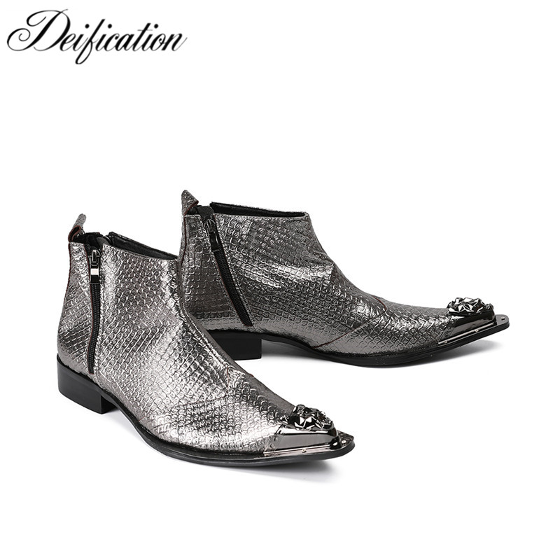 Deification Botas Hombre Winter Military Boots Fashion Two Zipper Design Cowboy Boots Mens Silver Snake Skin Leather Ankle Boots