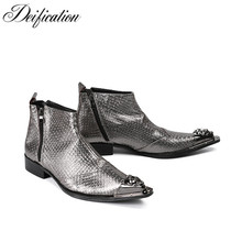Deification Botas Hombre Winter Military Boots Fashion Two Zipper Design Cowboy Mens Silver Snake Skin Leather Ankle