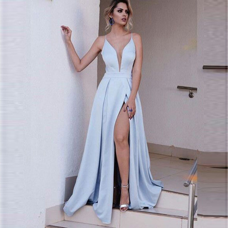 Evening     Dresses   Long Spaghetti Strap Satin Elegant Party Gowns Sexy Side Split   Evening   Gowns Robe De Soiree Abiti Sera Donna