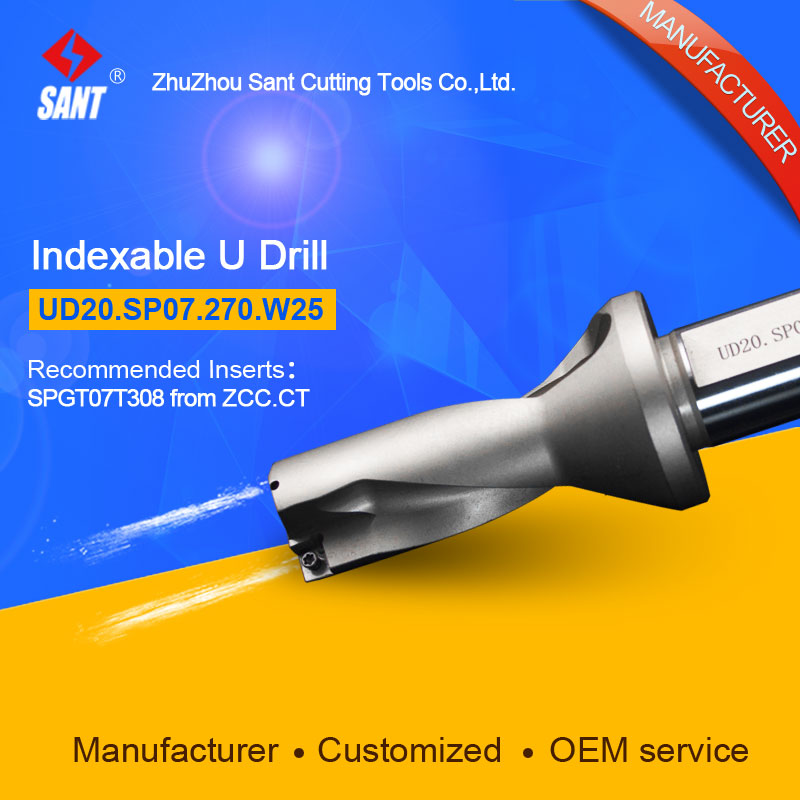 Zhuzhou Sant Drilling Tools U Drill UD20.SP07.270.W25 Applicable Inserts SPGT07T308 or SPMG07 double helix internal cooling holes 3 l d 17mm u drill ud30 sp06 170 w25 ztd03 with inserts zcc spgt06 or taegutec spmg06
