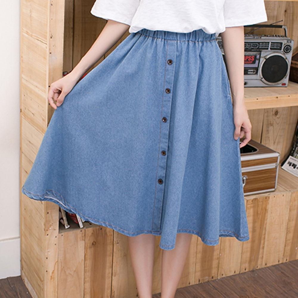 1e0a1f8788c20 US $12.18 20% OFF|Women Denim Skirts High Waist Plus Size Midi Skirt  Vintage Loose Casual A Line Skirt Ladies High Street Style Skirt Saias  Faldas-in ...