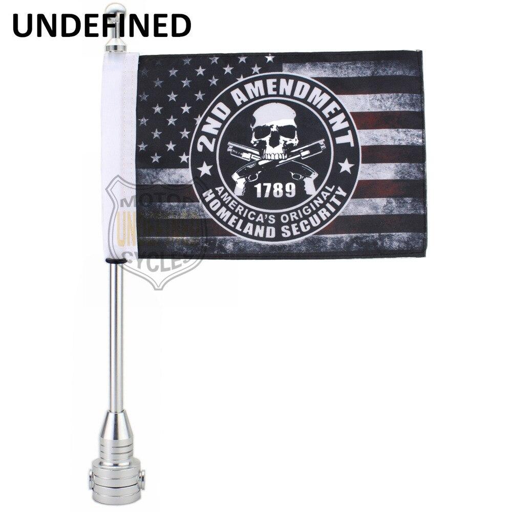Diamond Plate Motorcycle Flag Pole Black Silver Aluminum Mount