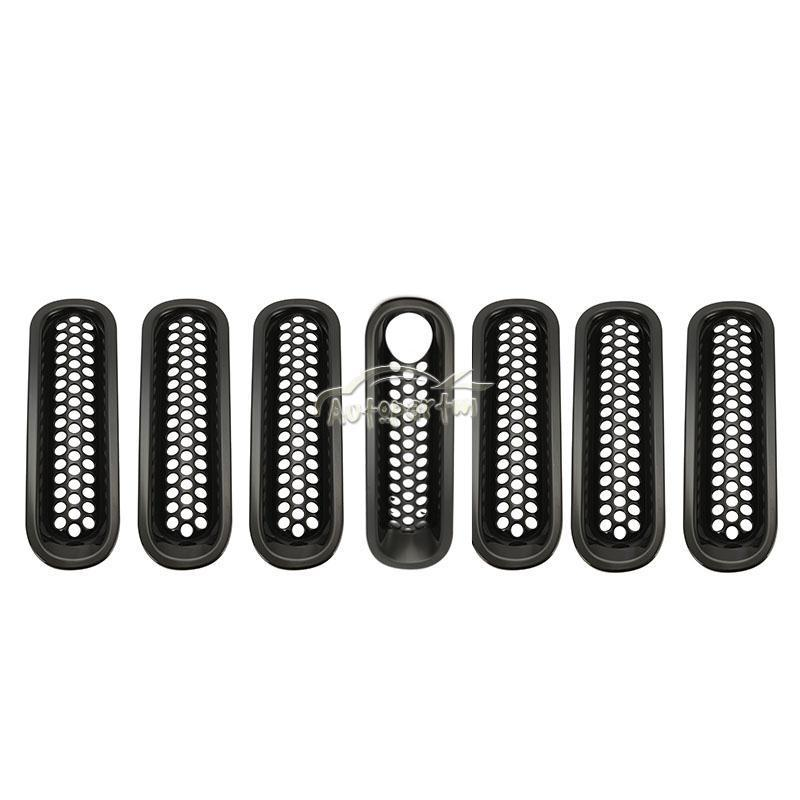 7x Black Front Insert Mesh Grille Trim With Lock Hole Fit For Jeep - Auto Replacement Parts