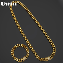 Uwin Mens Miami Cuban Link Bracelet&Chain Set Iced Out Rhinestones Box Clasp Curb Long Stainless Steel Heavy Hiphop Jewelry Set