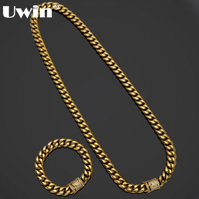 Uwin Mens Miami Cuban Link Bracelet&Chain Set Iced Out Rhinestones Box Clasp Necklace Stainless Steel Heavy Hiphop Jewelry Set