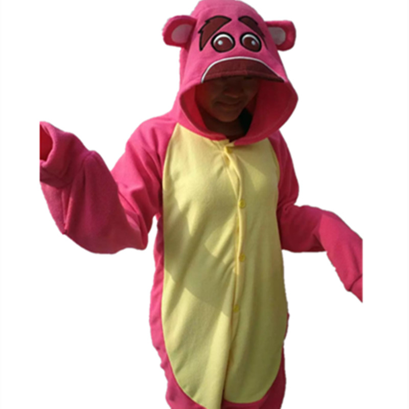 Cartoon Anime Cute Toy Strawberry Bear Lotso Onesie Halloween Cosplay Animals Red Bear Adult Fleece Pajamas Sleepwear Jumpsuit