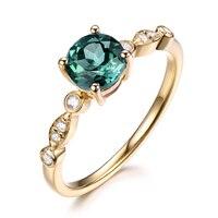 Александрит Цвет изменить Обручение кольцо 14 К желтого золота с бриллиантами обручальное под старину Юбилей подарок круглая огранка White Rose