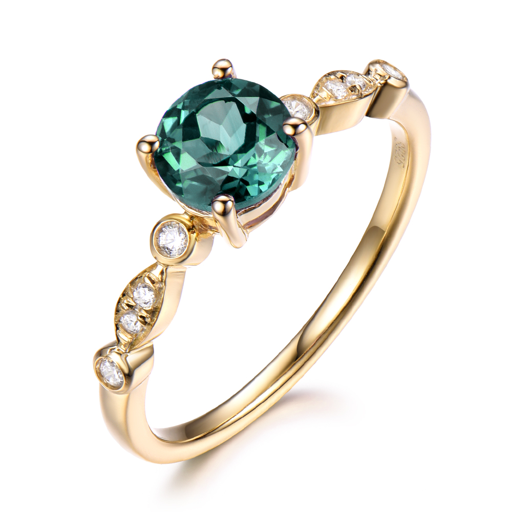 Alexandrite Color Change Engagement Ring 14k Yellow Gold