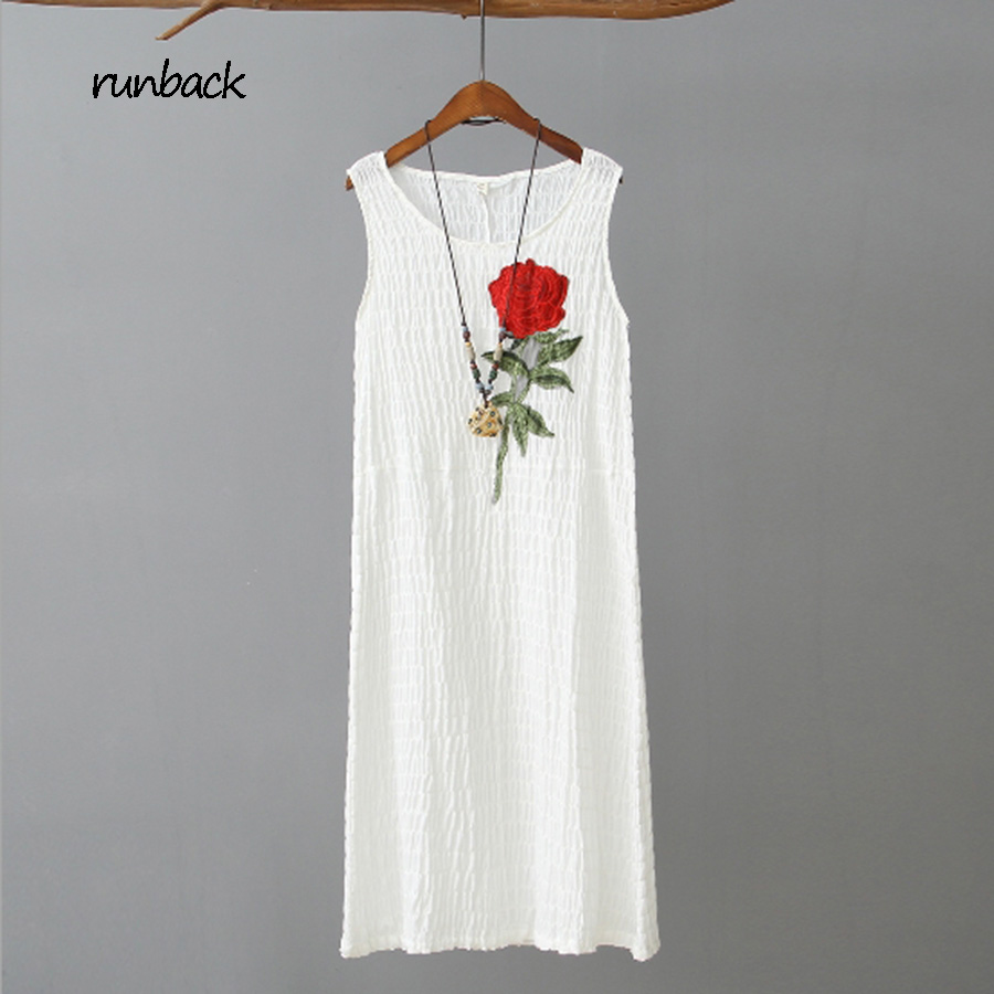 Original runback 2017 Summer White Pink Sleeveless Sundress Embroidery Patchwork Straight Robe Femme Cotton Linen Beach Dress