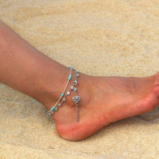 New Design Flower Heart Key Multilayer Anklet Vintage Spiral Style Pendant  Silver Anklet For Women Charm Chain Foot Jewelry 35cceb2994ad
