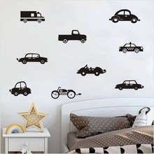 Classic Black Car Motorcycle Truck Wall Sticker For Kids Room Vintage Racing Art Retro Vinyl Murals Stickers Home Decor