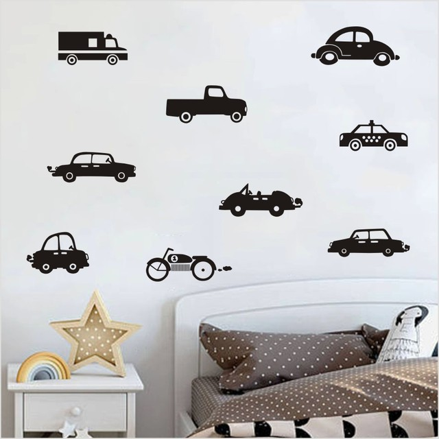 Classic Black Car Motorcycle Truck Wall Sticker For Kids Room ...