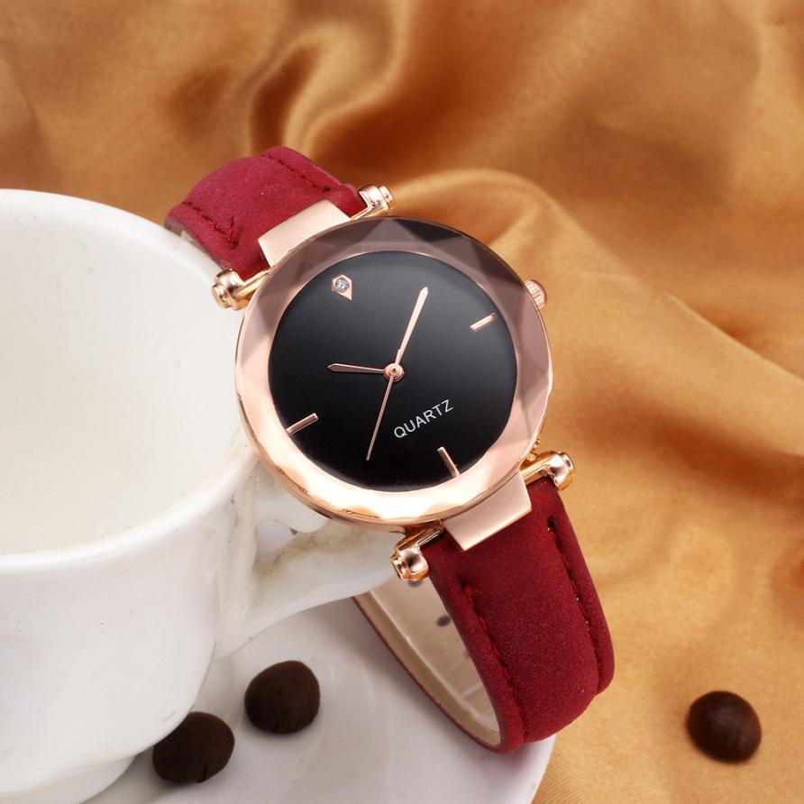 2018 Top Brand Women Bracelet Watch Contracted Leather Crystal WristWatches Women Dress Ladies Quartz Clock Dropshiping #D 1