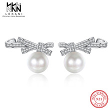 Lovely Bowknot Crystals From Swarovski Pearls Stud Earrings Real S925 Silver For Women Top Quality Engagement Fine Jewelry Gift swarovski lovely crystals mini 5242904