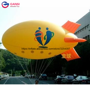 Promotional helium blimp airship balloon 4m length inflatable helium airplane balloon for advertising fireworks advertising inflatable helium blimp air flying helium balloon for sale