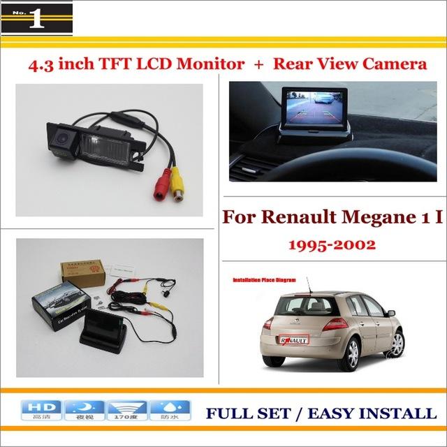 """No Carro 4.3 """"cor LCD Monitor + Car Rear Back Up Da Câmera = 2 em 1 Sistema De Estacionamento Parque-Para Renault Megane 1995 ~ 2002"""