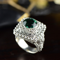 Genuine Solid Rings 925 Sterling Silver Antique Emerald Rings for Women Big Exaggerated Hollow Flower Design Fine Jewelry