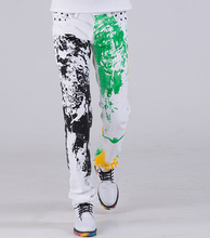28-38 ! 2015 men's new personalized fashion cotton jeans printing sanding straight slim casual trousers singer costumes clothing