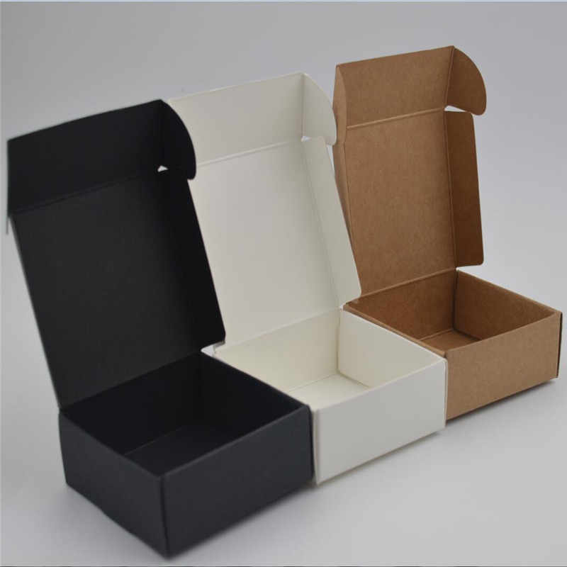 10pcs/lot 12sizes Small Kraft paper box,brown cardboard handmade soap box,white craft paper gift box,black packaging jewelry box