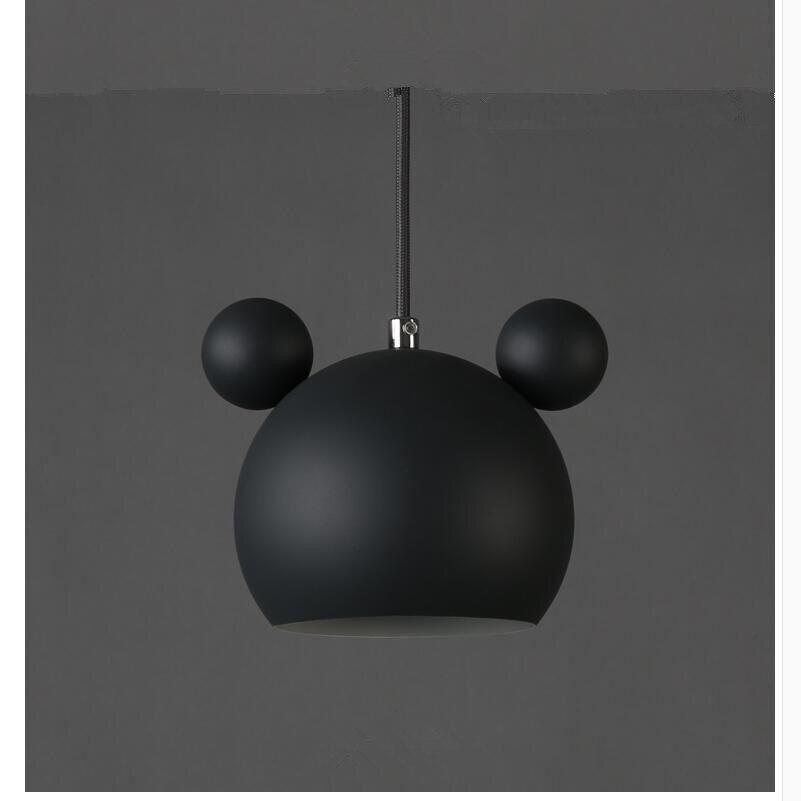 Art moderne belle Mickey Mouse fer pendentif lumières cadeau mignon métal pendentif lampes nordique pas cher fer suspendus lumières Lumianire lampe - 3
