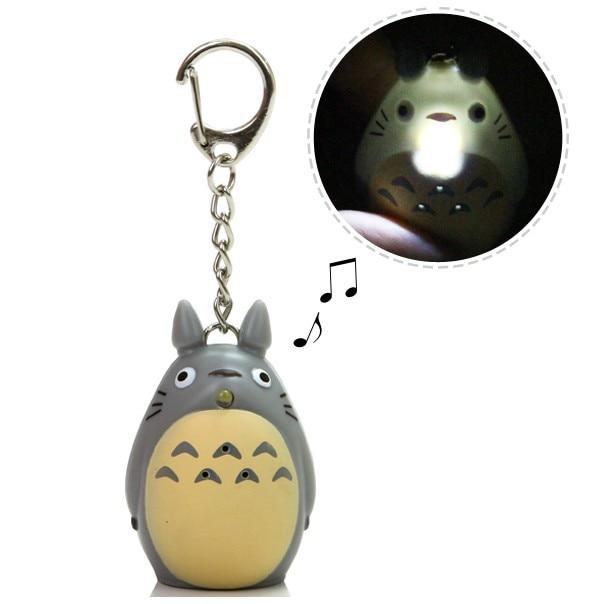 Cute Totoro Keychain cu LED și sunet Totoro Jucării Kitty Produse de desen animat pentru copii Cadouri de Crăciun Copii Jucării Transport gratuit
