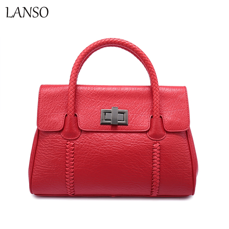 ФОТО 2017 New Trend Genuine Leather Casual Tote Wild Style Shoulder Bag Brand Leather Handbags For Women Weaving Lock Leather Bag