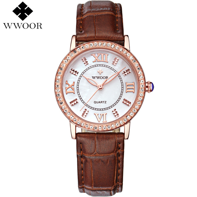 Brand Luxury Womens Watches Red Leather Rose Gold Casual Quartz