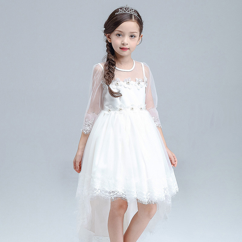 New Kids Girl Party Trailing Dress White Ruched Ball Gown Vestido with Pearl Flower Girls Wedding Dress Clothes 4-12 Years for kawasaki zx6r zx 6r 2000 2002 motorbike seat cover brand new motorcycle white fairing rear sear cowl cover free shipping h34