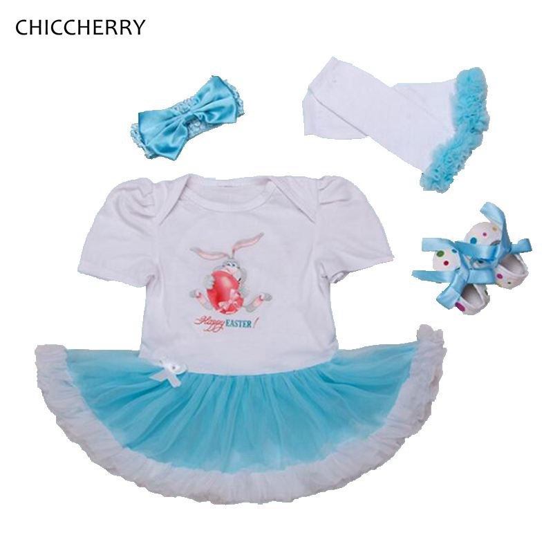 Cute Bunny Baby Girl Easter Outfit Lace Petti Romper Dress Headbands Crib Shoes Leg Warmers Newborn Tutu Sets Infant Clothing