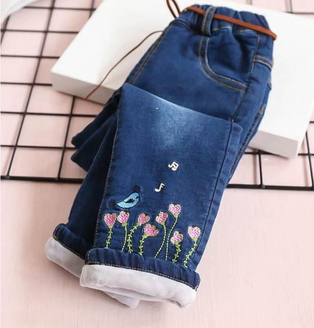 fae0f8319 Y318206 2018 Baby Pants For Girls Pants Denim Fleece Worm Embroidery Flowers  Sashes Kids Pants Winte Baby Girls Clothes Children