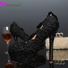 Schwarze Spitze Abendkleid Schuhe Frauen Rose Blume Hochzeit Schuhe Schwarz Spitze High Heel Schuhe Cocktailkleid Brautjungfer Schuhe Pumpt