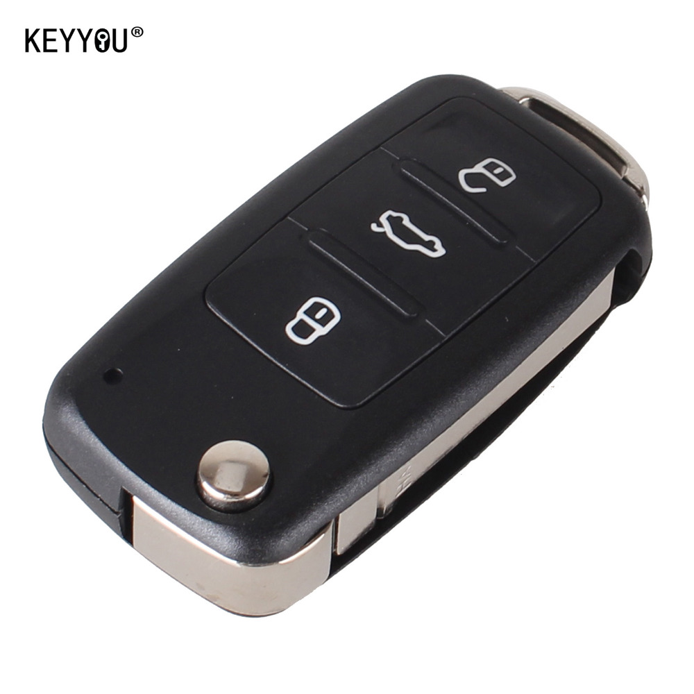 KEYYOU NEW 3 Button Flip Fob Remote Folding Key Shell for VW VOLKSWAGEN Tiguan Golf Sagitar Polo MK6 Uncut Blade Fob with LOGO