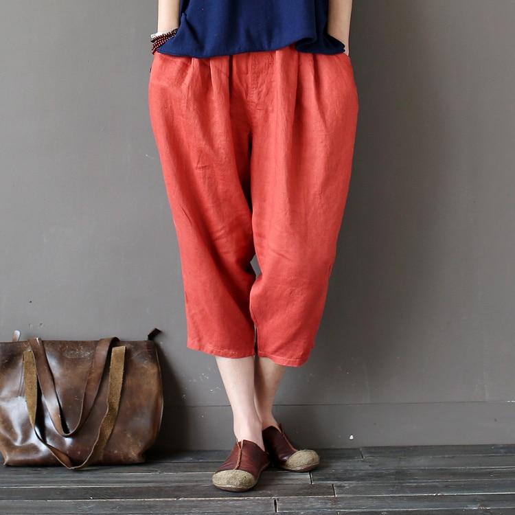 7 Candy Color Solid Elastic waist Linen Women Harem   Pants   Loose Casual Summer   Capris     Pants   Brand Fashion Linen Trousers A055