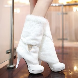 ФОТО Boots Patent Leather Women Shoes Adult  high heel 11CM Platform Height 2.5CM Thin Heels Thin Heels EUR 34-43