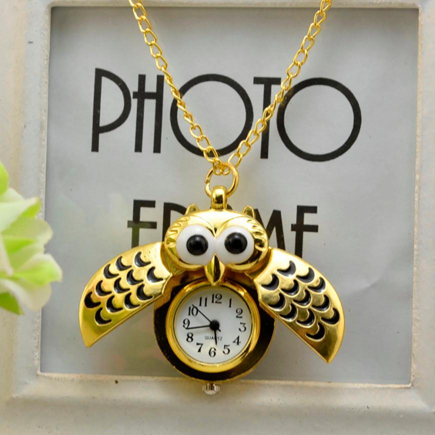 Vintage Bronze Retro Slide Smart Quartz Pocket Watch Owl Pendant Long Necklace Watch Nightmare Before Christmas Gift  #D